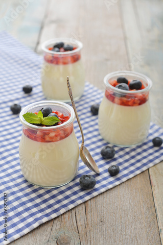 Panna cotta with fresh strawberry