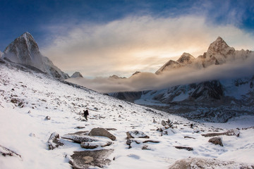 Morning view of Everest from Kala-Patthar, Nepal