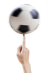 Hand and a soccer ball