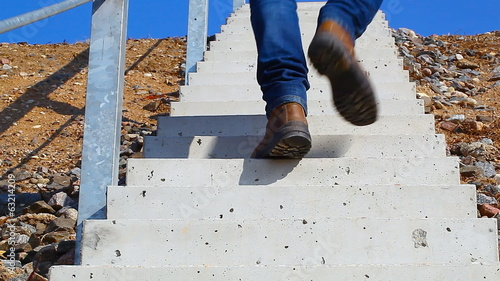 Man walking the stairs up