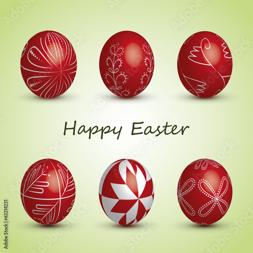 Happy Easter Card - Set of Six Red Eggs with Ornaments