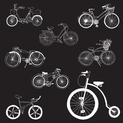 Doodle Bicycles - hand drawn - in vector