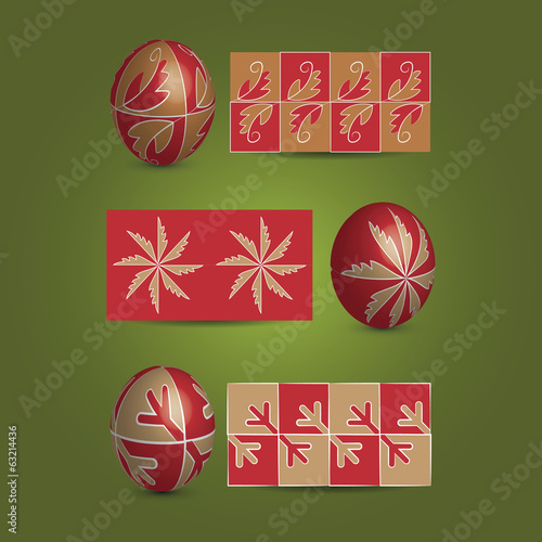Set of Easter Eggs and Ornamental Patterns