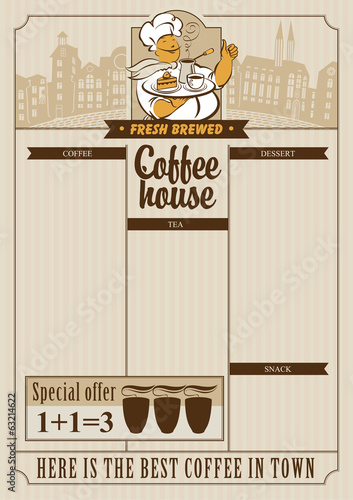 menu list for coffee house with a cup and waiter