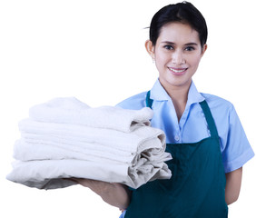 Maid is holding towels 1