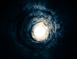 Mysterious blue tunnel to the light. Way to another world. - 63215009