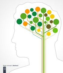 Brain concept with silhouette of a human head