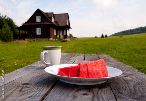Watermelon lunch in the countryside