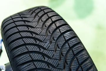 New car tyre closeup photo