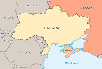 Crimea annexation. Political map of Crimean crisis 2014.