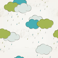 Retro rainy clouds, seamless pattern