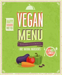 Vintage Vegan Menu Poster. Vector illustration.