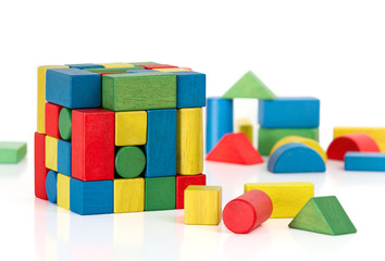 toy blocks jigsaw cube, multicolor puzzle pieces