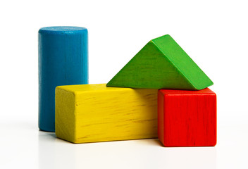 toy wooden blocks, multicolor building construction bricks