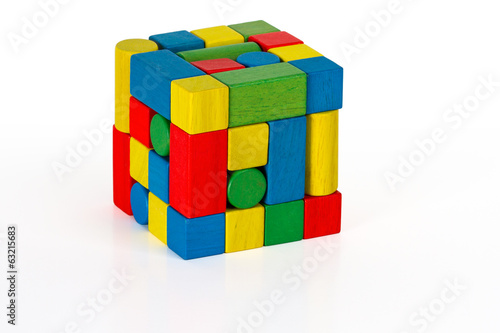 toy blocks jigsaw cube, multicolor puzzle wooden pieces