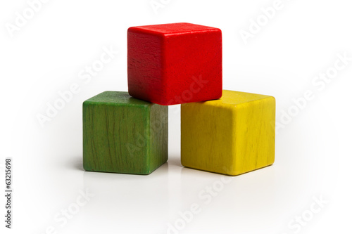 toy wooden blocks stack, pyramid of blank multicolor box cube