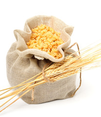 Pasta in bag with wheat ears