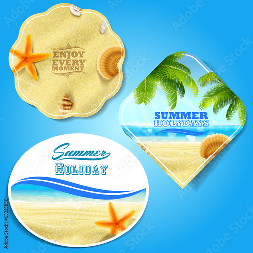 summer badges and stickers holiday