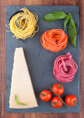 Italian colorful pasta handmade