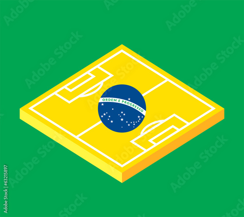Flat green soccer field, brazil flag