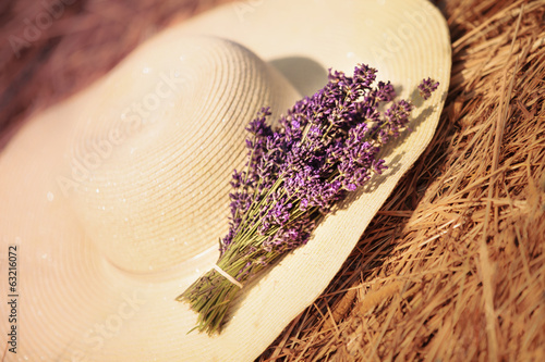 Bunch of lavender flowers on summer hat