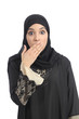 Arab saudi emirates woman covering her mouth with her hand