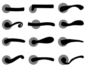 Black silhouettes of door handles, vector illustration