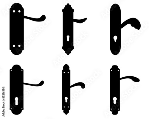 Black silhouettes of door knobs, vector illustration