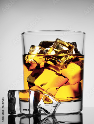 Round glass of whiskey with ice
