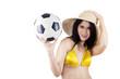 Woman soccer fans holding ball