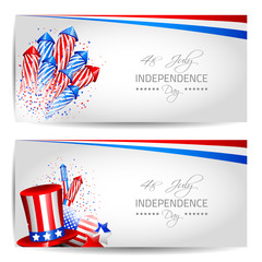 Set of Independence Day Cards - Vector