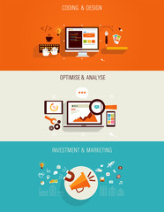 set of flat icons for web design, seo and marketing