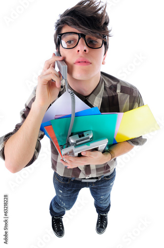 Funny office worker listening to phone, isolated, above shot