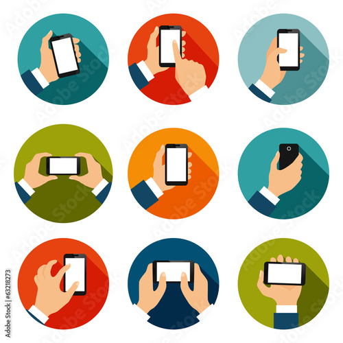 Hands with Phones Icons Set