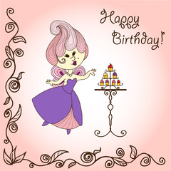 Vector  illustration cartoon fairy eats cake. Card design