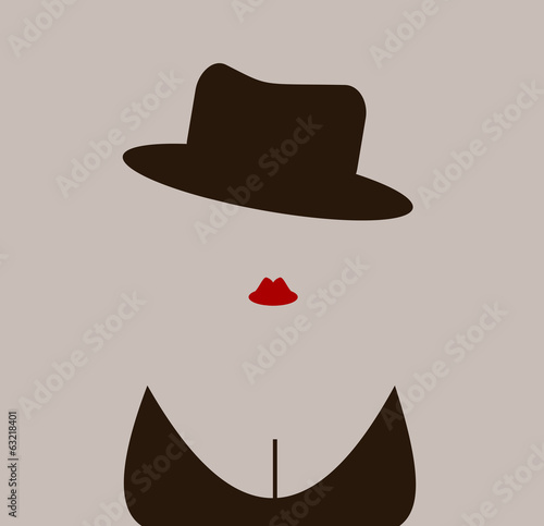 sexy woman wearing fedora hat and lipstick