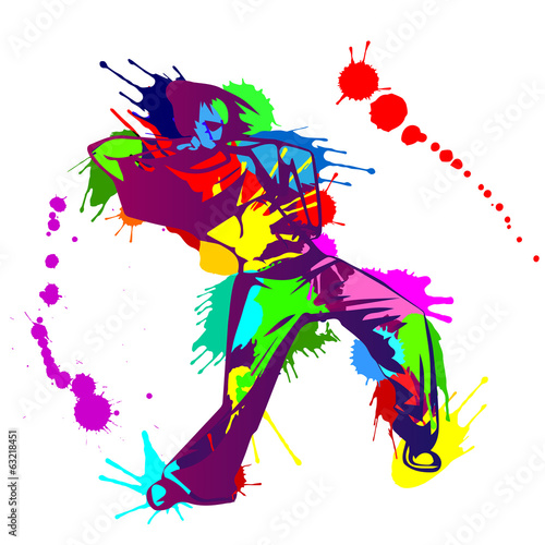 Vector illustration - girl street dancer and colorful blobs