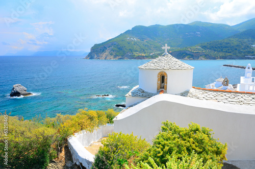 Fototapety, obrazy : Church above Skopelos, Greece