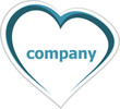 Business concept, company word on love heart on white