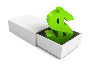 green dollar currency symbol  in open white box