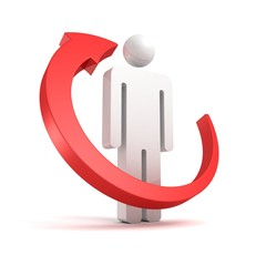 Red arrow around 3d business man icon on white background