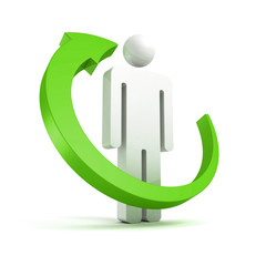 green cycle arrow around 3d small white man icon