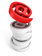 red shiny at e-mail icon symbol on white background
