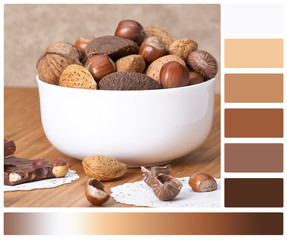 Assorted Whole Nuts In A Bowl. Palette With Complimentary Colour