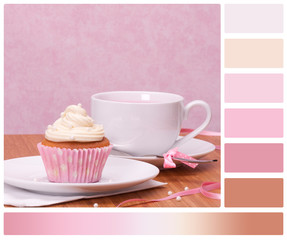 Cupcake And Fruit Tea Cup On Wooden Background. Palette With Com