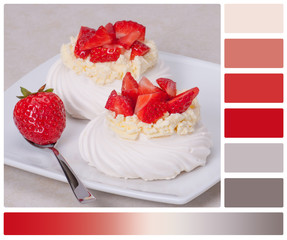 Strawberry Meringues Dessert Pavlova. Palette With Complimentary