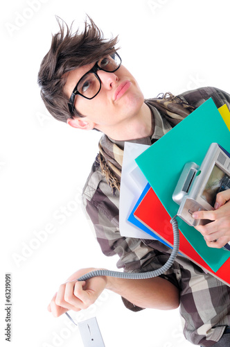 Frustrated geeky office employee, isolated on white