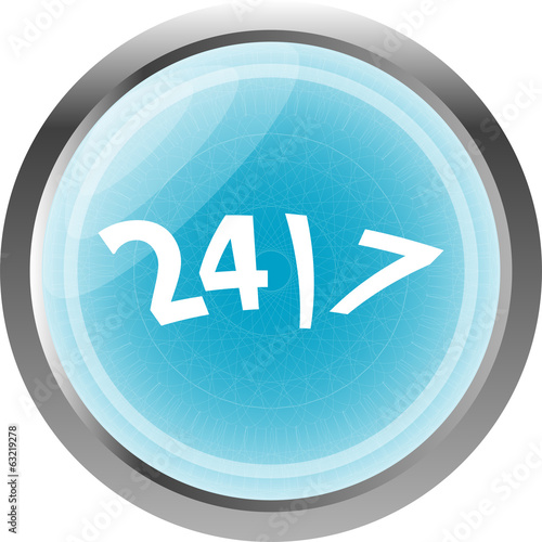 24 hour button web icon isolated on white