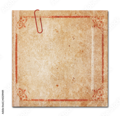 note with paper-clip isolated, clipping path