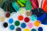 several dyed plastic polymer granulates
